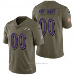 Camiseta NFL Limited Baltimore Ravens Personalizada 2017 Salute To Service Verde