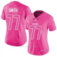 Camiseta NFL Limited Mujer Dallas Cowboys 77 Tyron Smith Rosa Stitched Rush Fashion