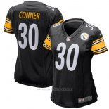 Camiseta NFL Limited Mujer Pittsburgh Steelers 30 Conner Negro Blanco