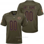 Camiseta NFL Limited Nino Chicago Bears Personalizada Salute To Service Verde