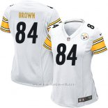 Camiseta Pittsburgh Steelers Brown Blanco Nike Game NFL Mujer