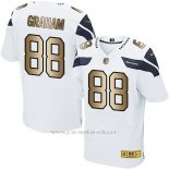 Camiseta Seattle Seahawks Graham Blanco Nike Gold Elite NFL Hombre