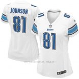 Camiseta Detroit Lions Johnson Blanco Nike Game NFL Mujer