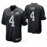 Camiseta NFL Game Hombre Oakland Raiders Derek Carr 60th Aniversario Negro