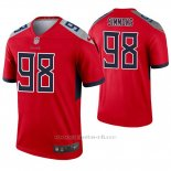 Camiseta NFL Legend Hombre Tennessee Titans 98 Jeffery Simmons Inverted Rojo