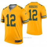 Camiseta NFL Legend Hombre Verde Bay Packers 12 Aaron Rodgers Inverted Oro