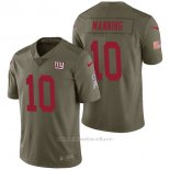 Camiseta NFL Limited Hombre New York Giants 10 Eli Manning 2017 Salute To Service Verde