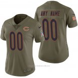 Camiseta NFL Limited Mujer Chicago Bears Personalizada 2017 Salute To Service Verde