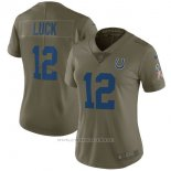 Camiseta NFL Limited Mujer Indianapolis Colts 12 Luck 2017 Salute To Service Verde