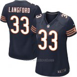Camiseta Chicago Bears Langford Blanco Negro Nike Game NFL Mujer