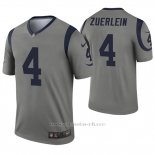 Camiseta NFL Legend Hombre Los Angeles Rams 4 Greg Zuerlein Inverted Gris
