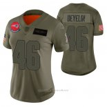 Camiseta NFL Limited Mujer New England Patriots James Develin 2019 Salute To Service Verde