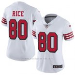 Camiseta NFL Limited Mujer San Francisco 49ers 80 Jerry Rice Blanco Rush Stitched Vapor Untouchable