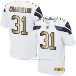 Camiseta Seattle Seahawks Chancellor Blanco Nike Gold Elite NFL Hombre