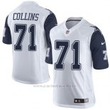 Camiseta Dallas Cowboys Collins Blanco y Profundo Azul Nike Elite NFL Hombre