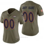 Camiseta NFL Limited Mujer Denver Broncos Personalizada 2017 Salute To Service Verde
