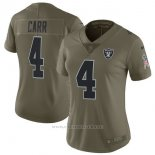Camiseta NFL Limited Mujer Oakland Raiders 4 Carr 2017 Salute To Service Verde