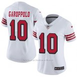 Camiseta NFL Limited Mujer San Francisco 49ers 10 Jimmy Garoppolo Blanco Rush Stitched Vapor Untouchable
