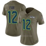 Camiseta NFL Limited Mujer Seattle Seahawks 12 Fan Verde Stitched 2017 Salute To Service