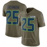 Camiseta NFL Limited Nino Seattle Seahawks 25 Sherman 2017 Salute To Service Verde