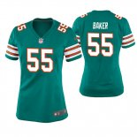 Camiseta NFL Game Mujer Miami Dolphins Jerome Baker Throwback Verde
