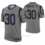 Camiseta NFL Legend Hombre Los Angeles Rams 30 Todd Gurley Ii Inverted Gris