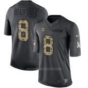 Camiseta NFL Limited Hombre Minnesota Vikings 8 Sam Bradford Negro Stitched 2016 Salute To Service
