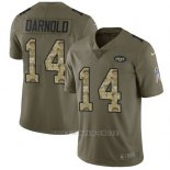 Camiseta NFL Limited Hombre New York Jets 14 Sam Darnold Stitched 2017 Salute To Service