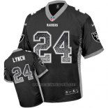 Camiseta NFL Limited Hombre Oakland Raiders 24 Marshawn Lynch Negro Stitched Drift Fashion