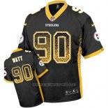 Camiseta NFL Limited Hombre Pittsburgh Steelers 90 T. J. Watt Negro Stitched Drift Fashion