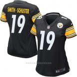 Camiseta NFL Limited Mujer Pittsburgh Steelers 19 Smith-Schuster Negro Blanco