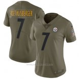 Camiseta NFL Limited Mujer Pittsburgh Steelers 7 Roethlisberger 2017 Salute To Service Verde