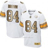 Camiseta Pittsburgh Steelers Brown Blanco Nike Gold Elite NFL Hombre