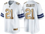 Camiseta Dallas Cowboys Elliott Blanco Nike Gold Game NFL Hombre