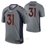 Camiseta NFL Legend Denver Broncos Justin Simmons Inverted Gris