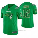 Camiseta NFL Limited Hombre New England Patriots Tom Brady St. Patrick's Day Verde