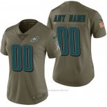 Camiseta NFL Limited Mujer Philadelphia Eagles Personalizada 2017 Salute To Service Verde