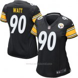 Camiseta NFL Limited Mujer Pittsburgh Steelers 90 Watt Negro Blanco
