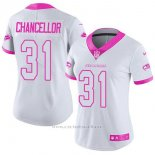 Camiseta NFL Limited Mujer Seattle Seahawks 31 Kam Chancellor Blanco Rosa Stitched Rush Fashion