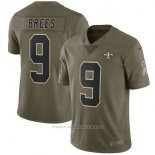Camiseta NFL Limited Nino New Orleans Saints 9 Brees 2017 Salute To Service Verde