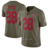 Camiseta NFL Limited Nino San Francisco 49ers San Francisco 49ers 28 Hyde 2017 Salute To Service Verde
