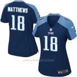Camiseta Tennessee Titans Matthews Azul Oscuro Nike Game NFL Mujer