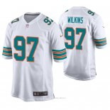 Camiseta NFL Game Hombre Miami Dolphins Christian Wilkins Blanco Throwback