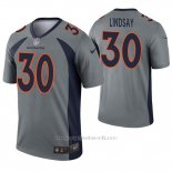 Camiseta NFL Legend Hombre Denver Broncos 30 Phillip Lindsay Inverted Gris