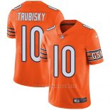 Camiseta NFL Limited Hombre Chicago Bears 10 Mitchell Trubisky Naranja Stitched Rush