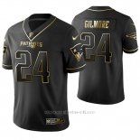 Camiseta NFL Limited Hombre New England Patriots Stephon Gilmore Golden Edition Negro