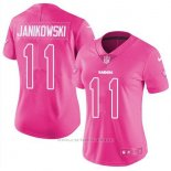 Camiseta NFL Limited Mujer Oakland Raiders 11 Sebastian Janikowski Rosa Stitched Rush Fashion