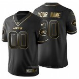Camiseta NFL Limited New York Jets Personalizada Golden Edition Negro