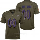 Camiseta NFL Limited Nino Baltimore Ravens Personalizada Salute To Service Verde