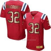 Camiseta New England Patriots Mccourty Rojo Nike Gold Elite NFL Hombre